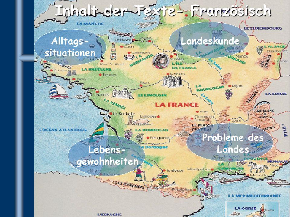 Inhalt der Texte- Französisch