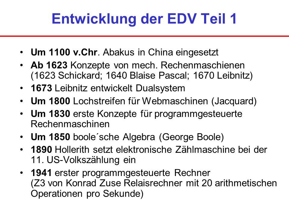 Entwicklung der EDV Teil 1