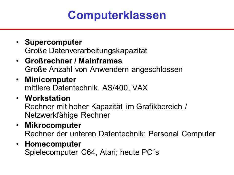 Computerklassen Supercomputer Große Datenverarbeitungskapazität