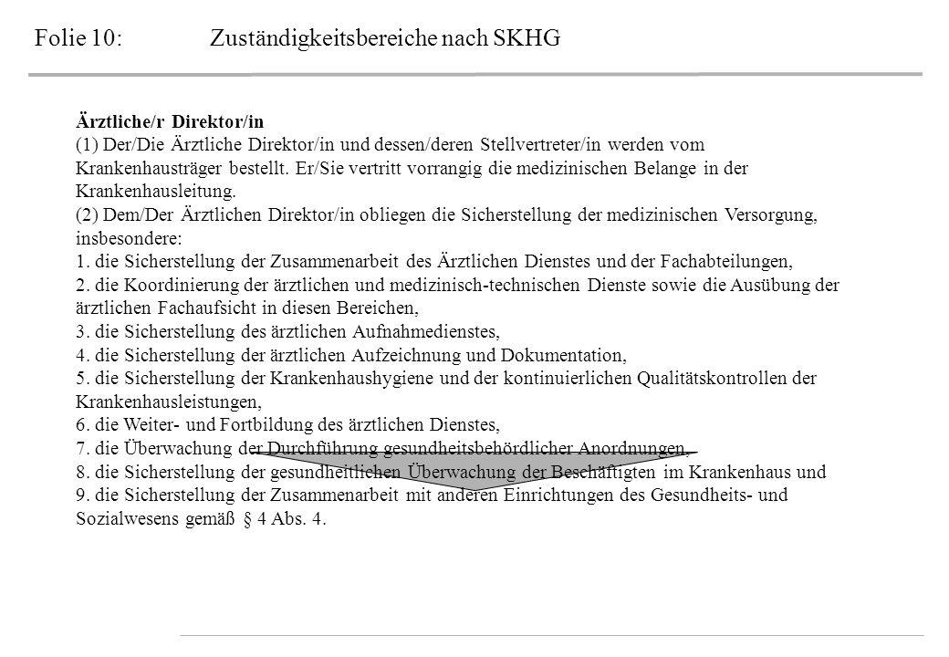 Folie 10: Zuständigkeitsbereiche nach SKHG