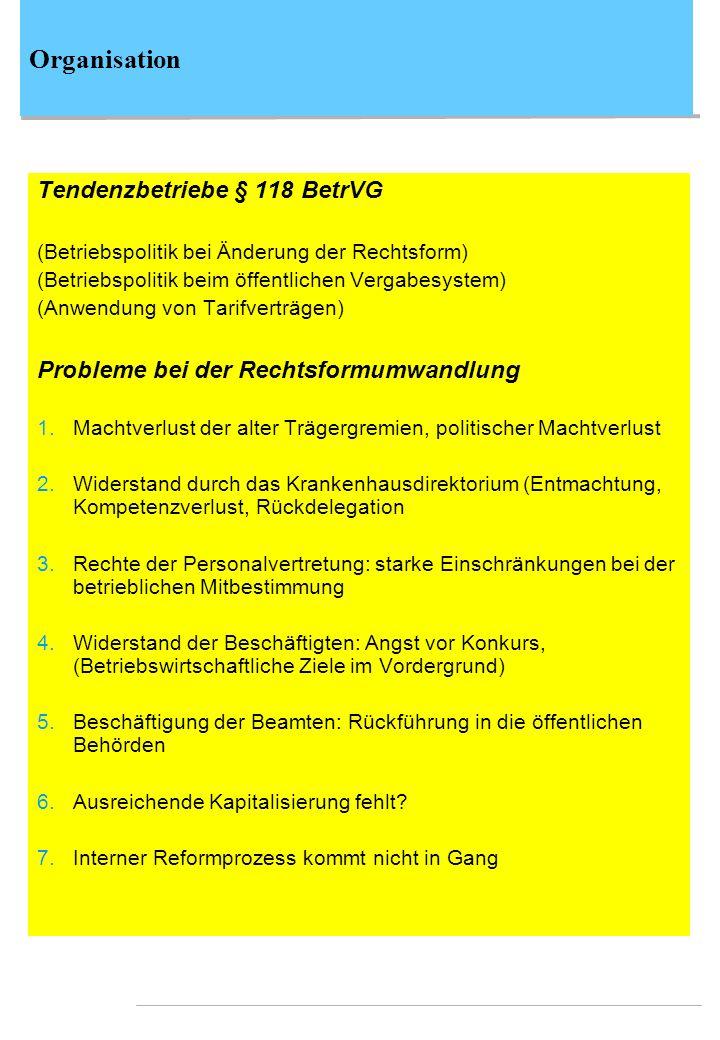 Organisation Tendenzbetriebe § 118 BetrVG