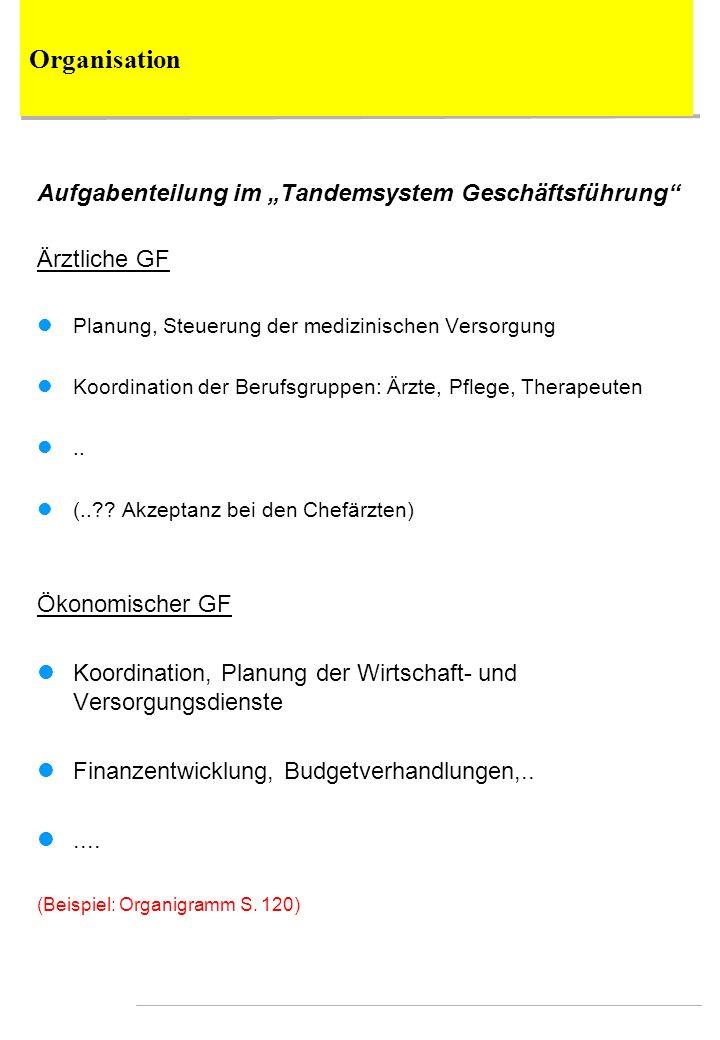 """Organisation Aufgabenteilung im """"Tandemsystem Geschäftsführung"""