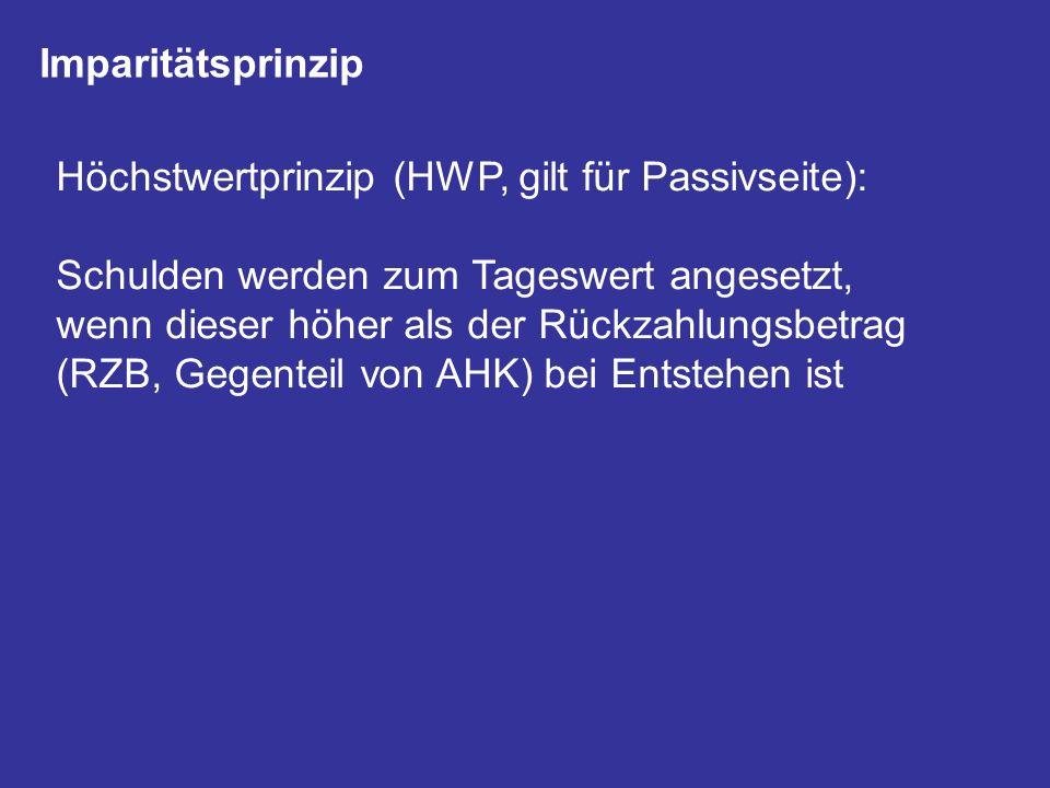 Imparitätsprinzip Höchstwertprinzip (HWP, gilt für Passivseite):