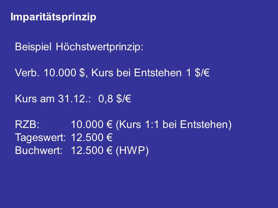 Imparitätsprinzip Beispiel Höchstwertprinzip: Verb. 10.000 $, Kurs bei Entstehen 1 $/€ Kurs am 31.12.: 0,8 $/€