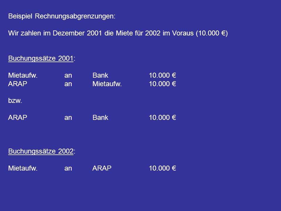 Beispiel Rechnungsabgrenzungen: