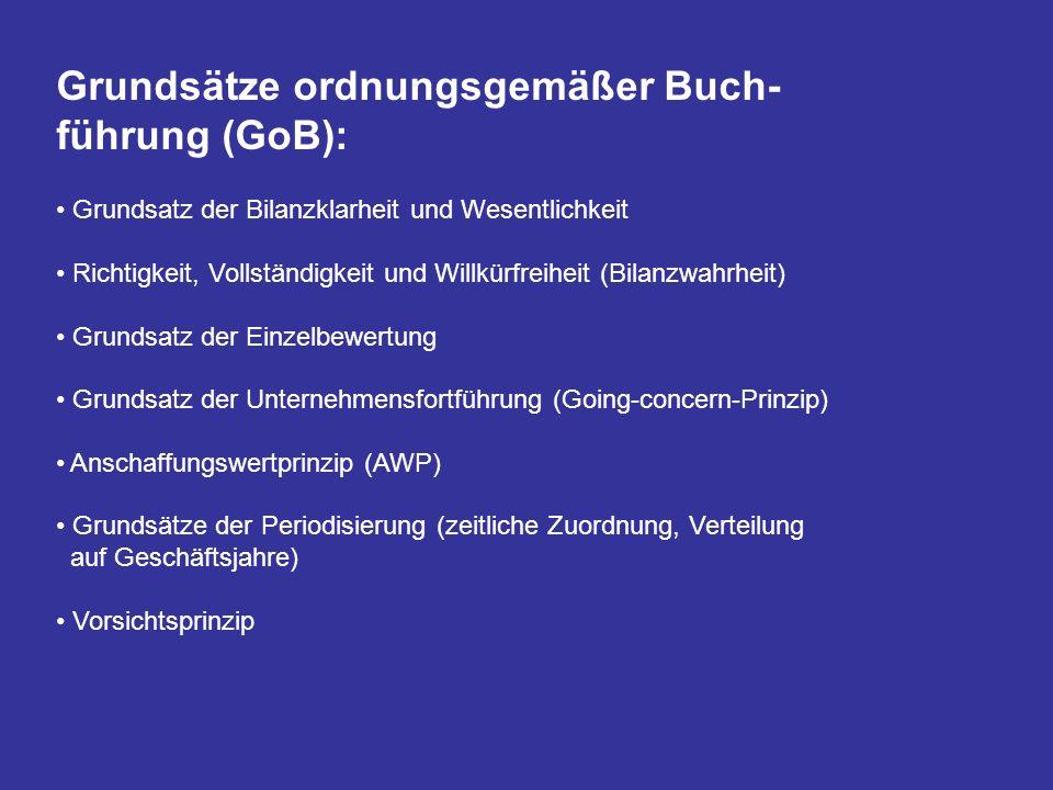 Grundsätze ordnungsgemäßer Buch-führung (GoB):