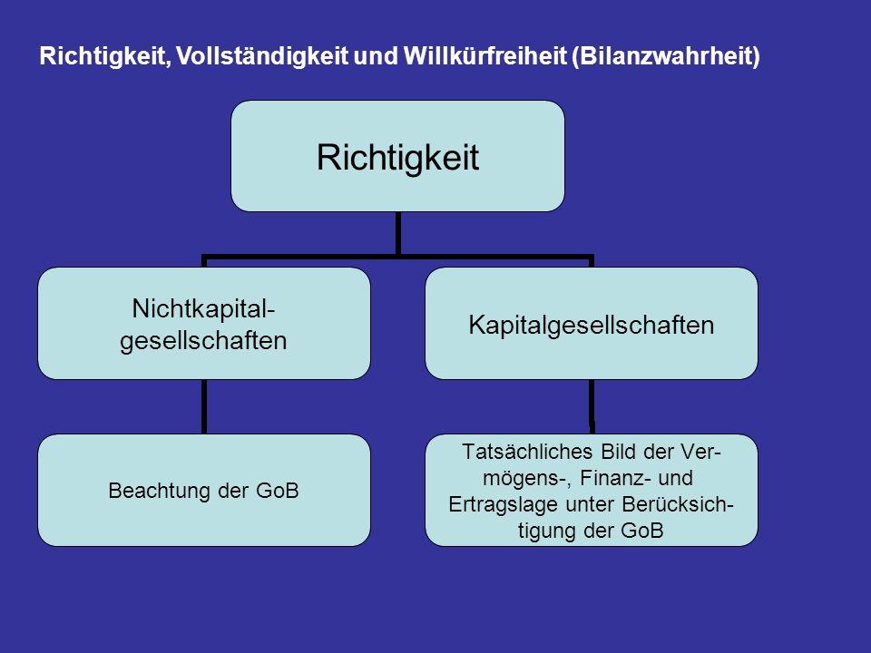 Richtigkeit, Vollständigkeit und Willkürfreiheit (Bilanzwahrheit)