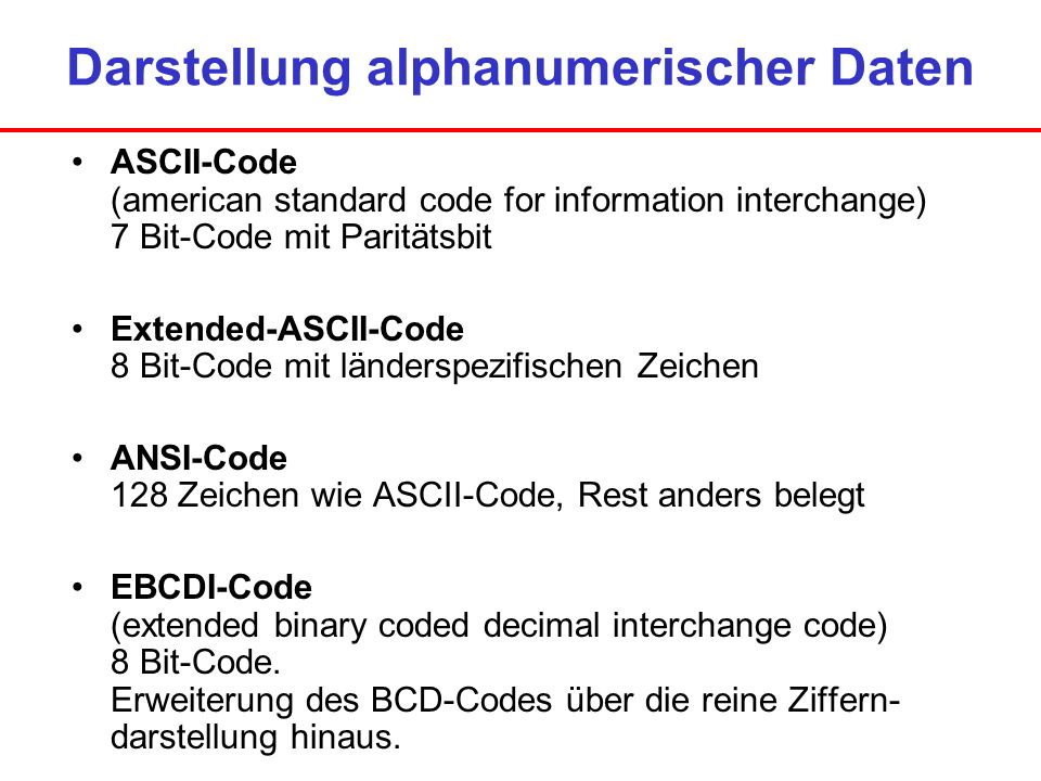 Darstellung alphanumerischer Daten