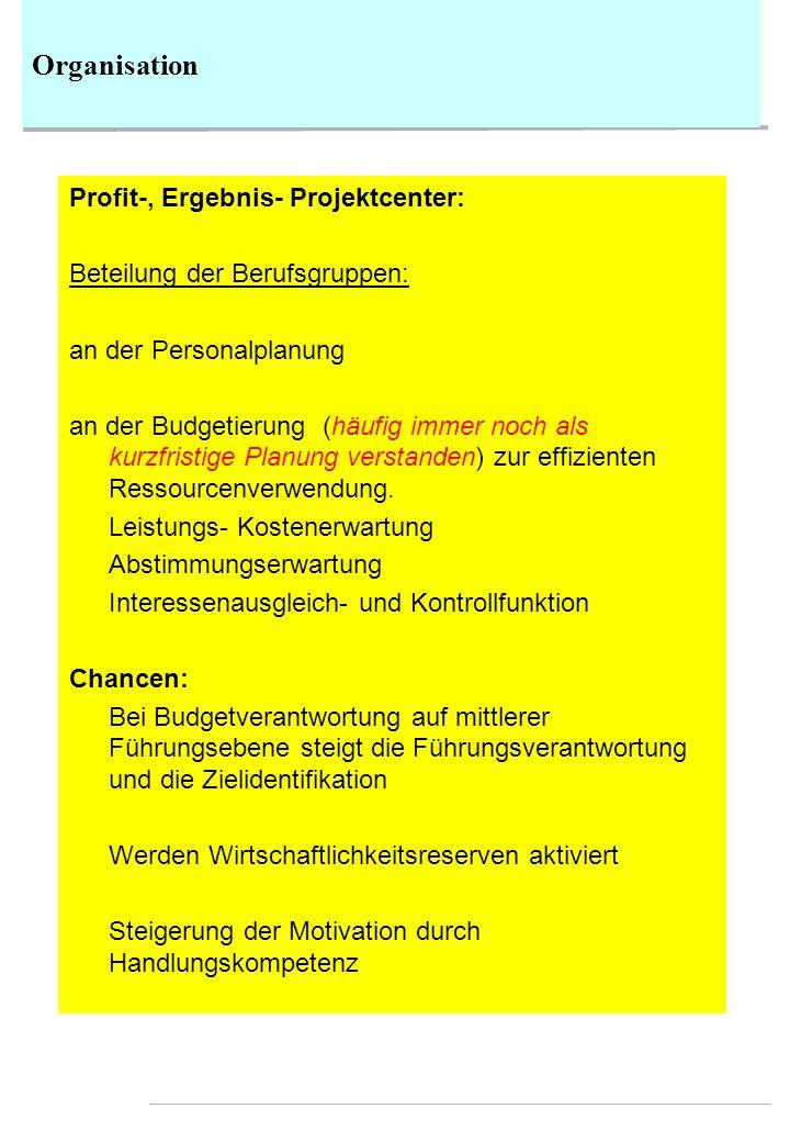 Organisation Profit-, Ergebnis- Projektcenter: