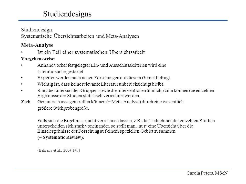 Studiendesign: Systematische Übersichtsarbeiten und Meta-Analysen