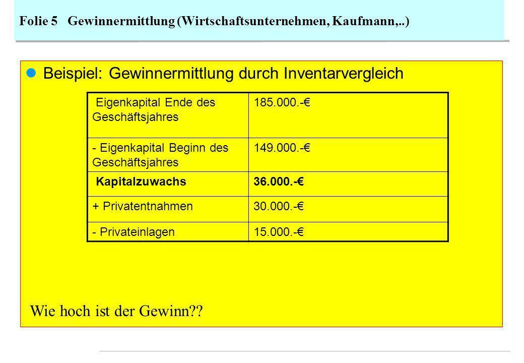 Folie 5 Gewinnermittlung (Wirtschaftsunternehmen, Kaufmann,..)
