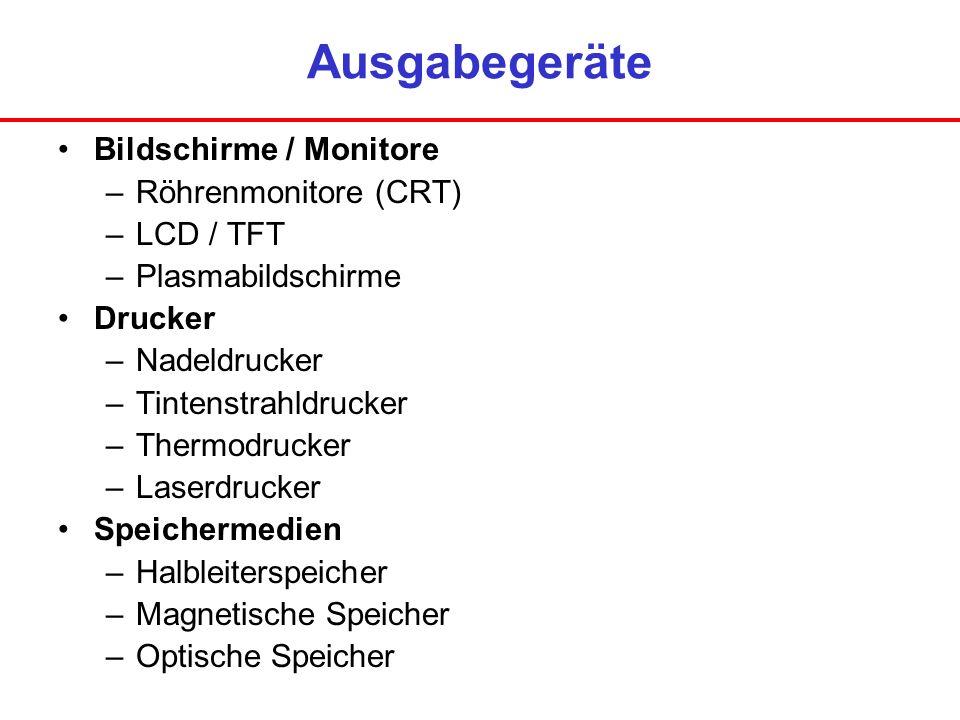 Ausgabegeräte Bildschirme / Monitore Röhrenmonitore (CRT) LCD / TFT