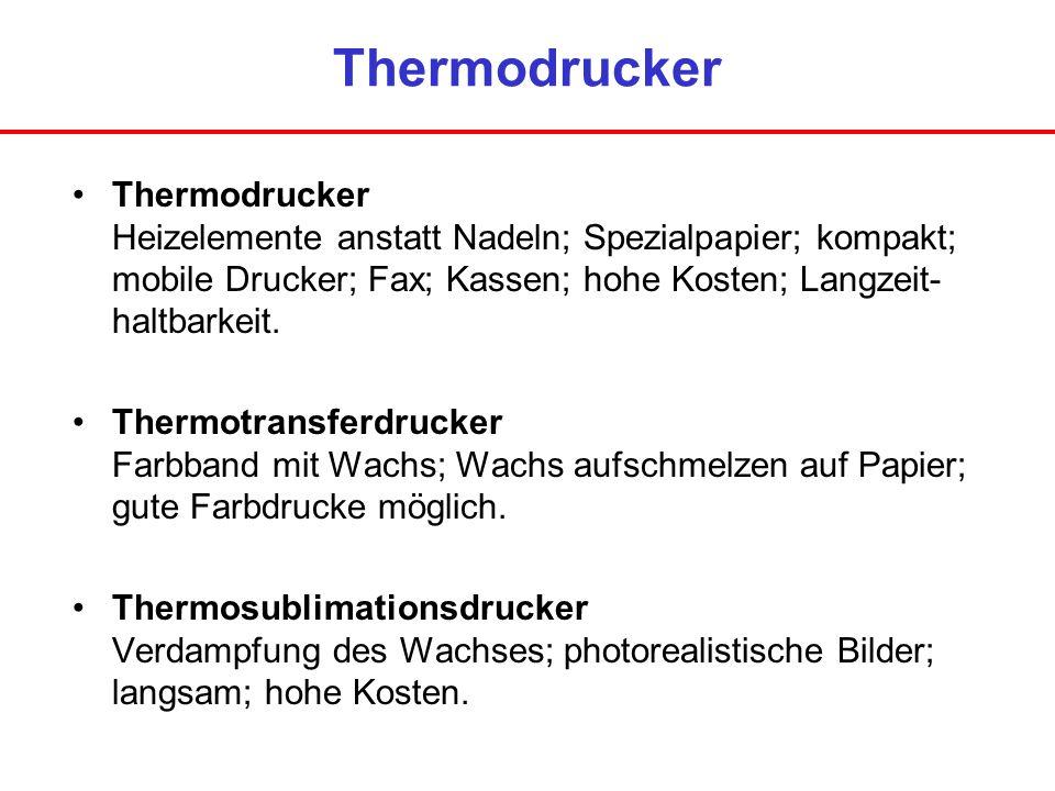 Thermodrucker Thermodrucker Heizelemente anstatt Nadeln; Spezialpapier; kompakt; mobile Drucker; Fax; Kassen; hohe Kosten; Langzeit- haltbarkeit.