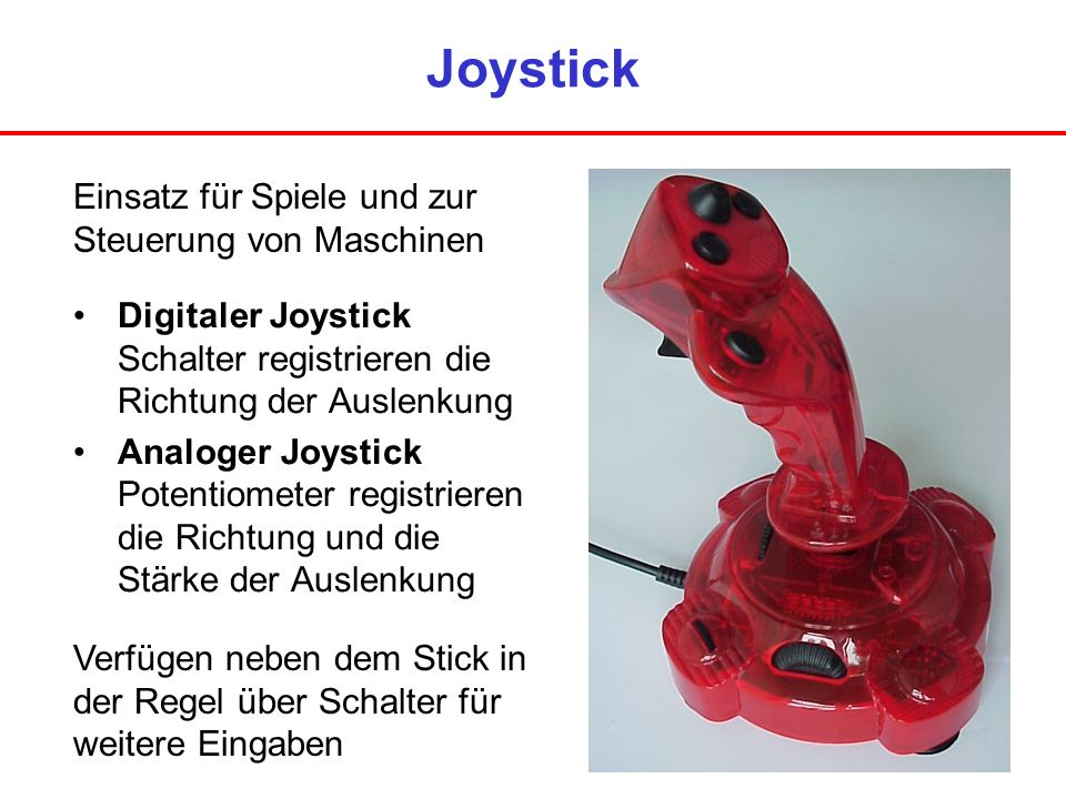 Joystick Einsatz für Spiele und zur Steuerung von Maschinen