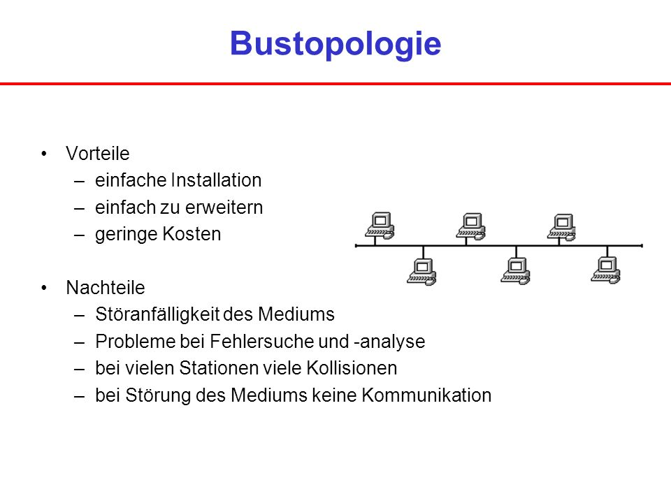 Bustopologie Vorteile einfache Installation einfach zu erweitern
