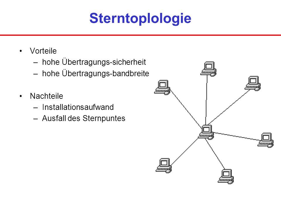Sterntoplologie Vorteile hohe Übertragungs-sicherheit