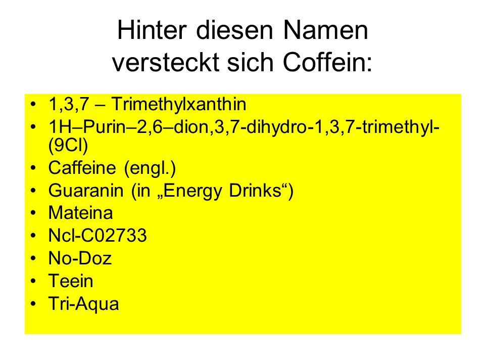 Hinter diesen Namen versteckt sich Coffein: