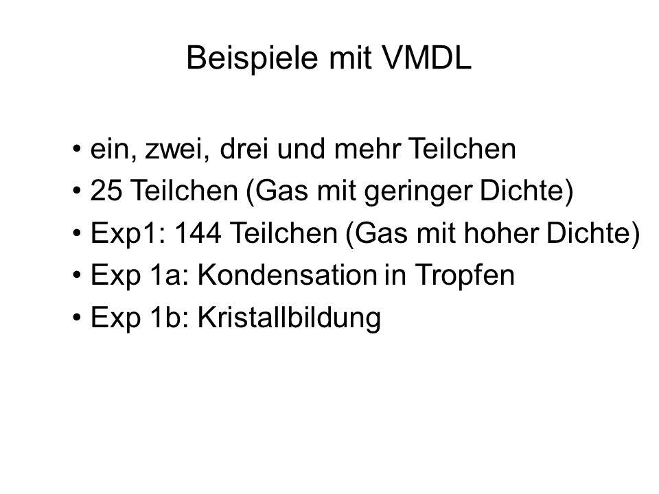 Beispiele mit VMDL ein, zwei, drei und mehr Teilchen