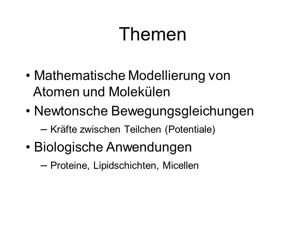 Themen Mathematische Modellierung von Atomen und Molekülen