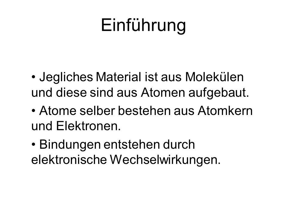 Einführung Jegliches Material ist aus Molekülen und diese sind aus Atomen aufgebaut. Atome selber bestehen aus Atomkern und Elektronen.