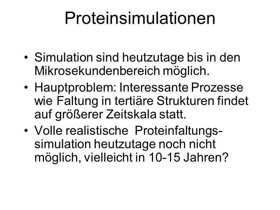Proteinsimulationen Simulation sind heutzutage bis in den Mikrosekundenbereich möglich.