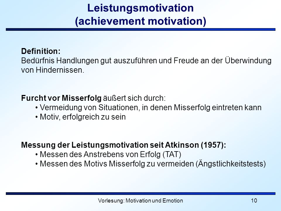 Leistungsmotivation (achievement motivation)