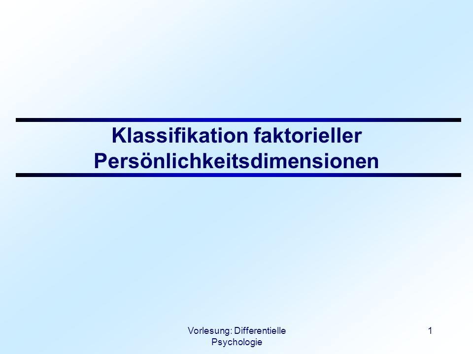 Klassifikation faktorieller Persönlichkeitsdimensionen