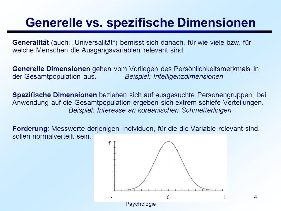 Generelle vs. spezifische Dimensionen