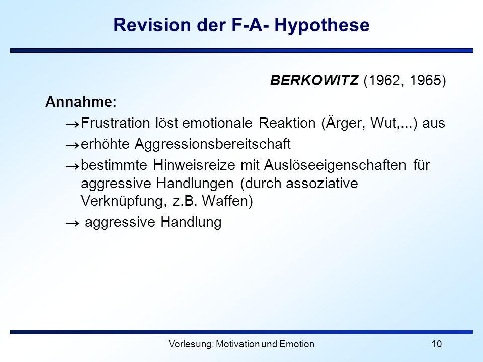 Revision der F-A- Hypothese