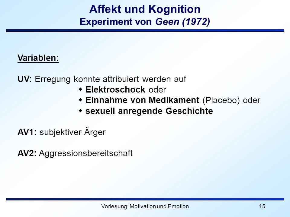 Affekt und Kognition Experiment von Geen (1972)