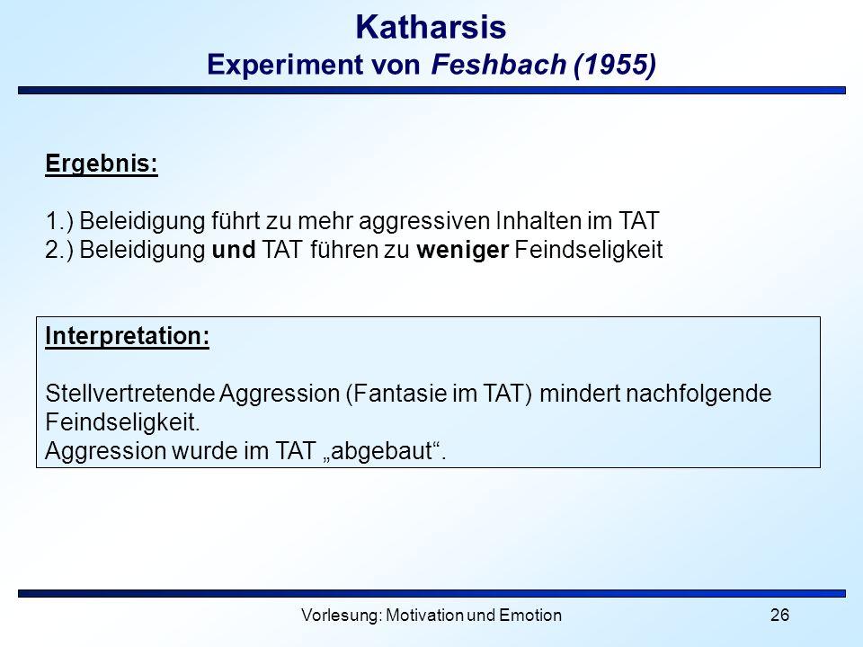 Katharsis Experiment von Feshbach (1955)