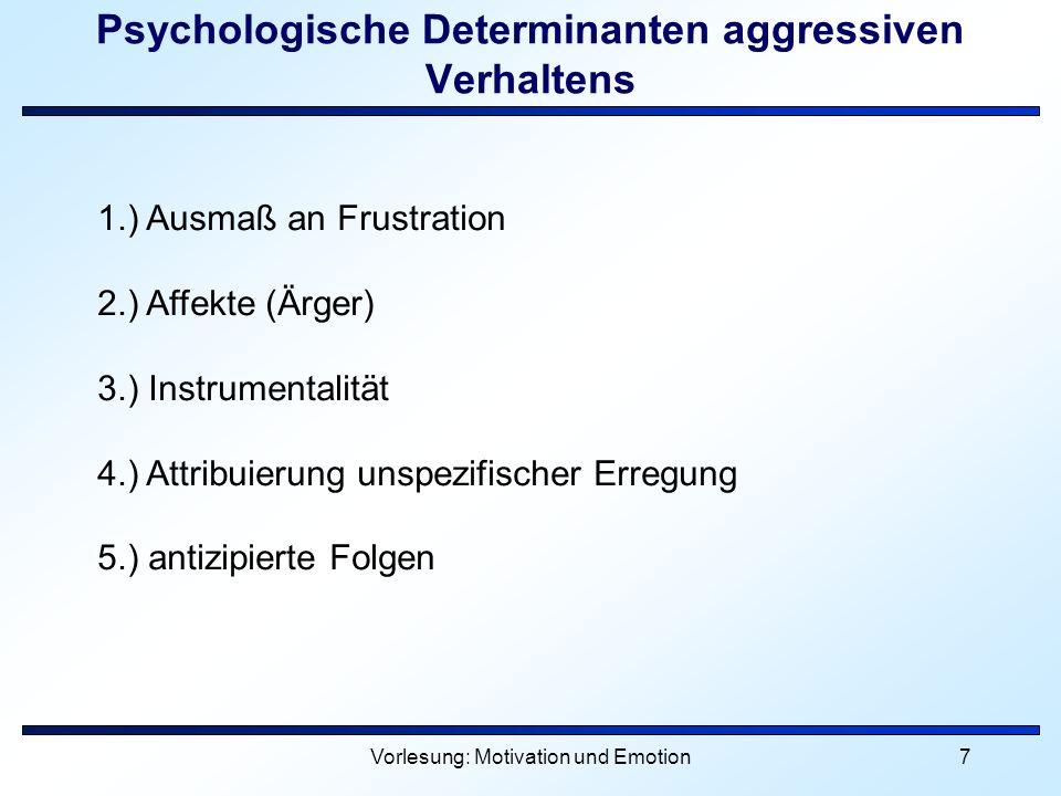 Psychologische Determinanten aggressiven Verhaltens