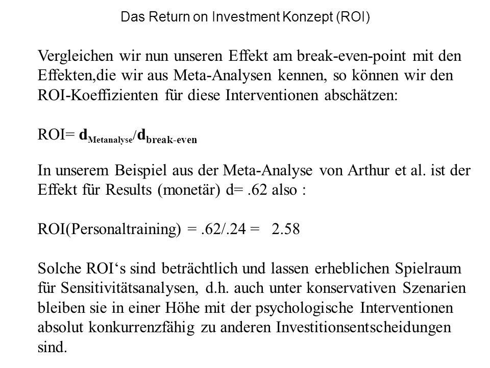 Das Return on Investment Konzept (ROI)