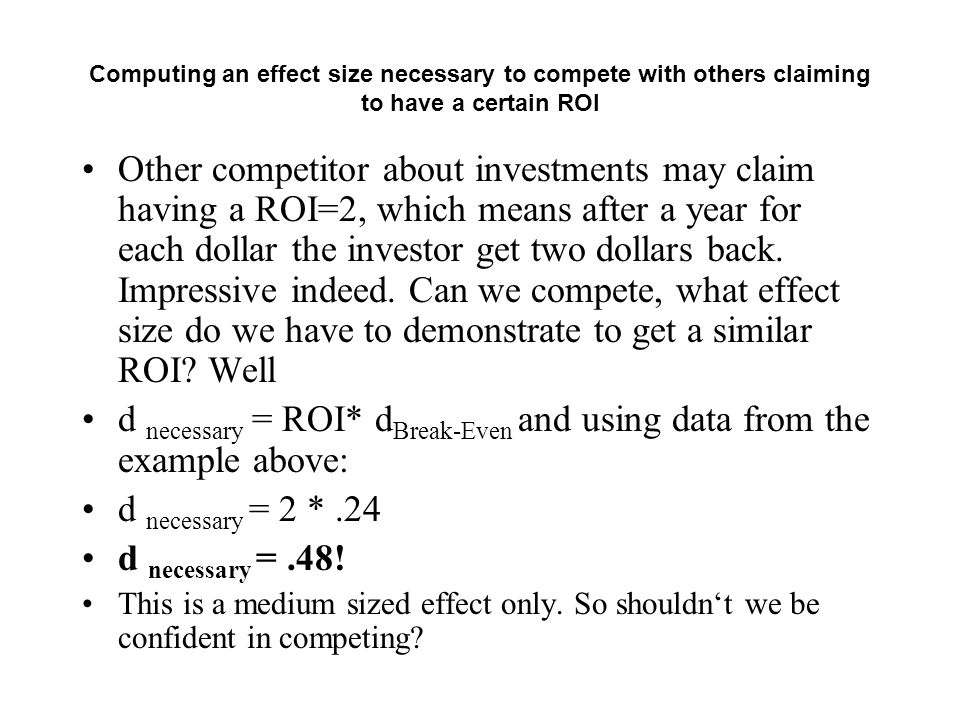 d necessary = ROI* dBreak-Even and using data from the example above: