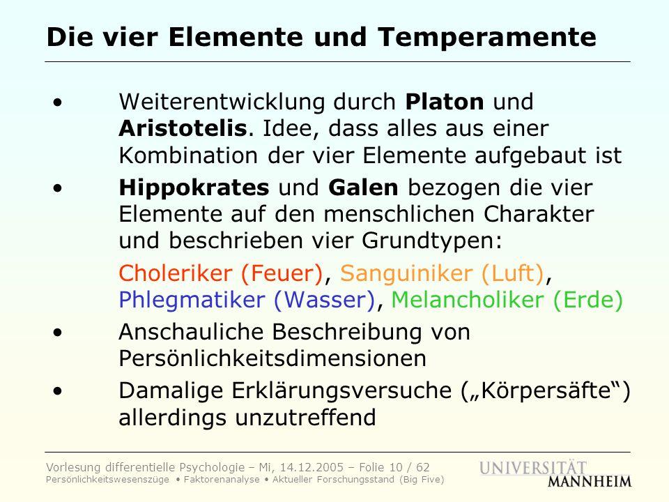 Die vier Elemente und Temperamente