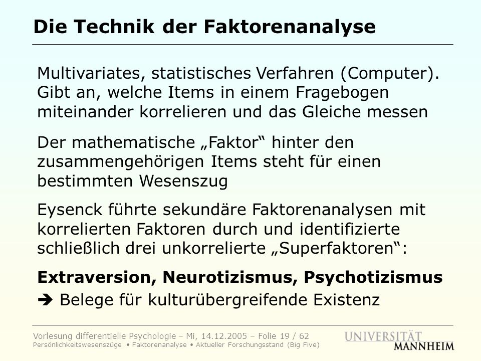 Die Technik der Faktorenanalyse