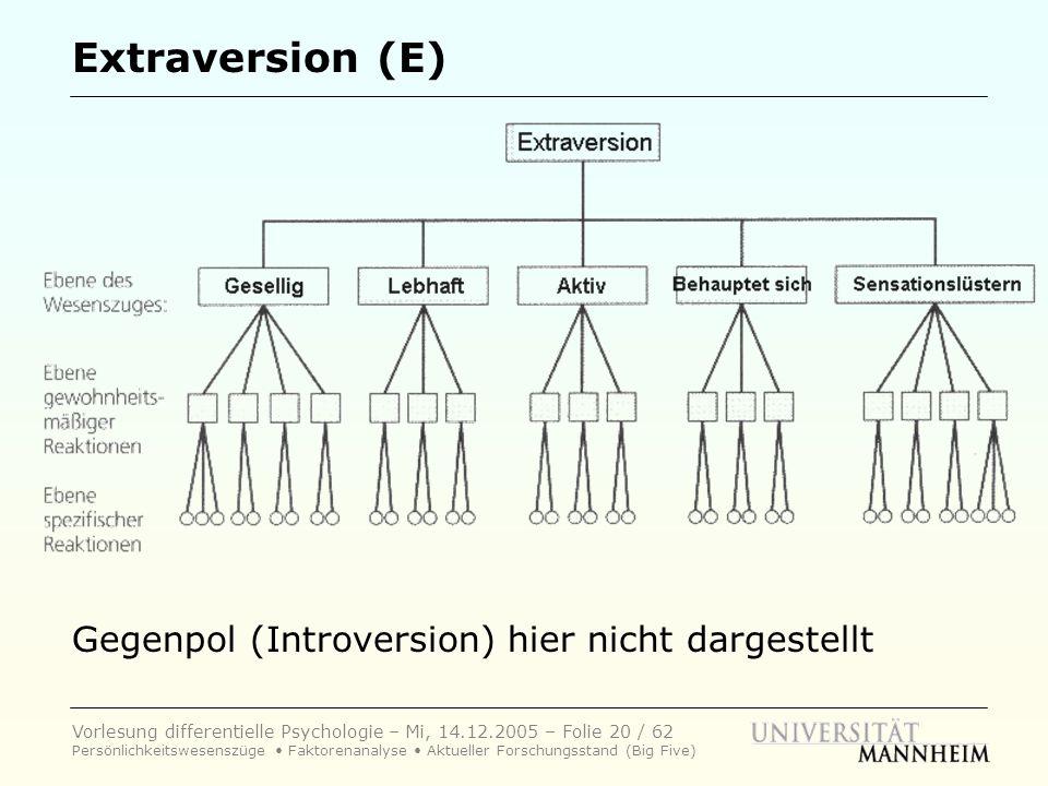 Extraversion (E) Gegenpol (Introversion) hier nicht dargestellt
