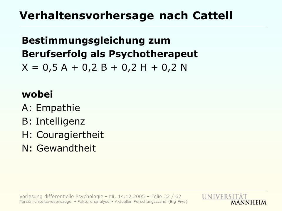 Verhaltensvorhersage nach Cattell