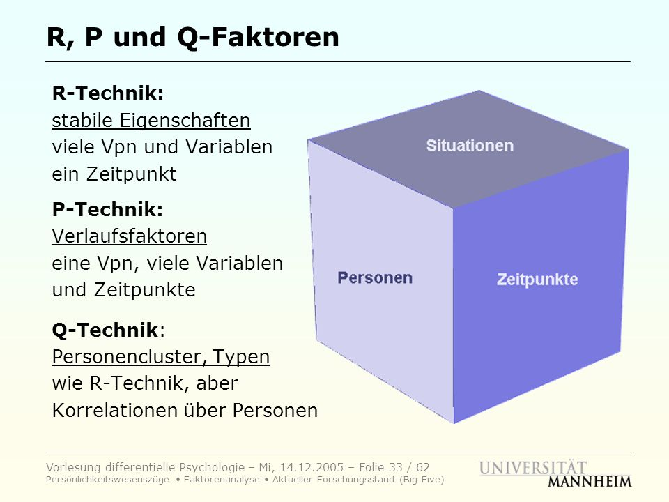 R, P und Q-Faktoren R-Technik: stabile Eigenschaften