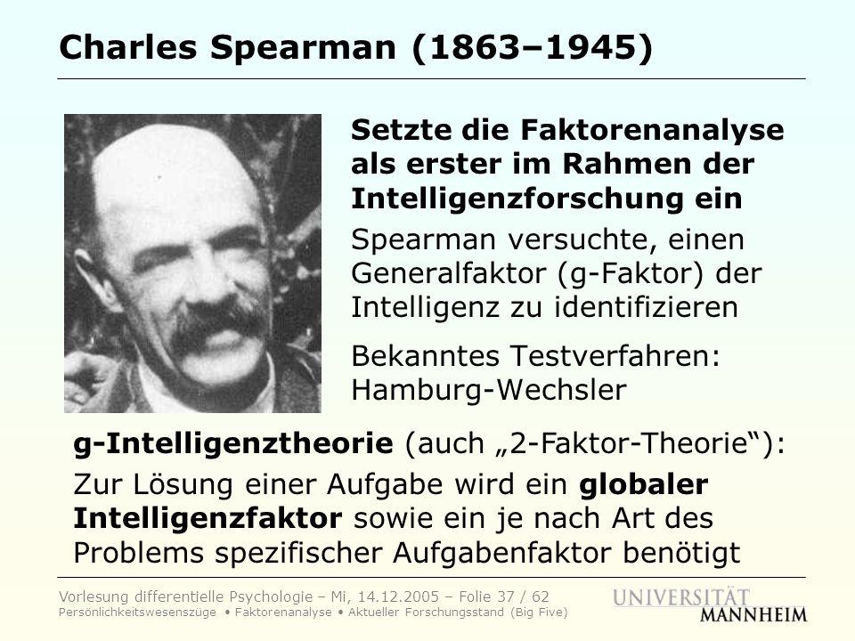 Charles Spearman (1863–1945) Setzte die Faktorenanalyse als erster im Rahmen der Intelligenzforschung ein.