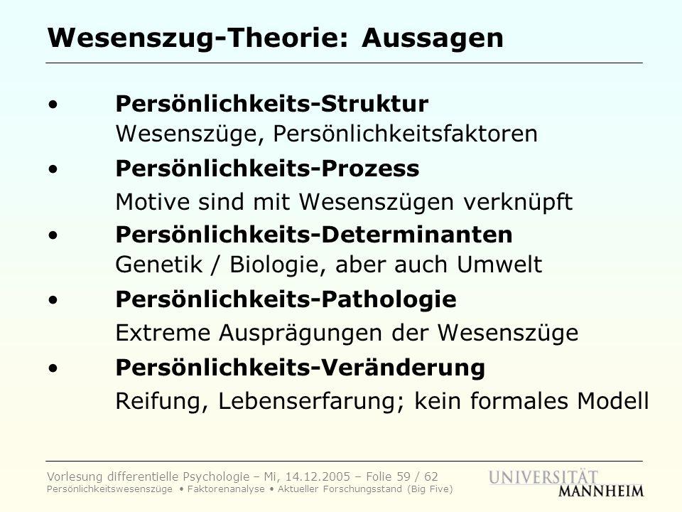 Wesenszug-Theorie: Aussagen