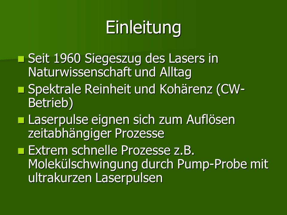 Einleitung Seit 1960 Siegeszug des Lasers in Naturwissenschaft und Alltag. Spektrale Reinheit und Kohärenz (CW-Betrieb)