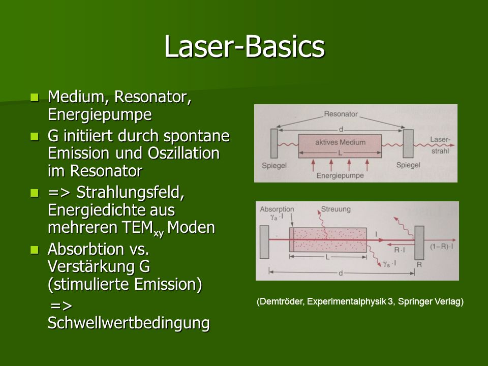 Laser-Basics Medium, Resonator, Energiepumpe