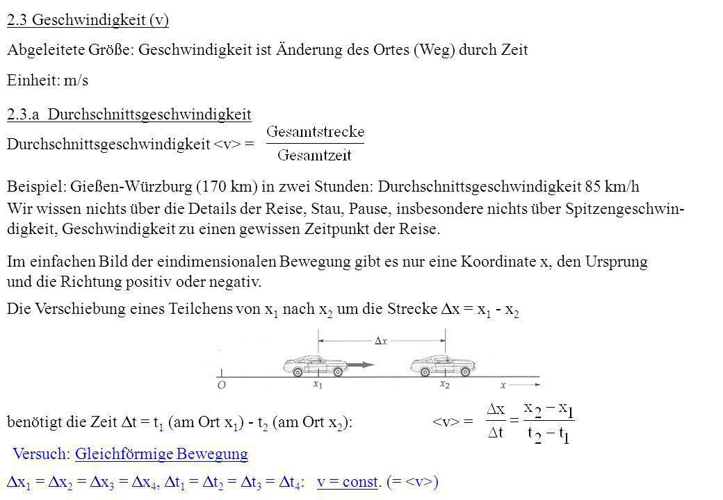 2.3 Geschwindigkeit (v)Abgeleitete Größe: Geschwindigkeit ist Änderung des Ortes (Weg) durch Zeit. Einheit: m/s.