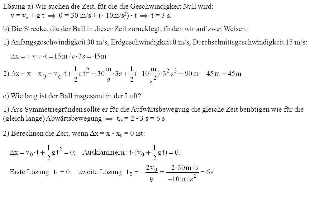 Lösung a) Wir suchen die Zeit, für die die Geschwindigkeit Null wird:
