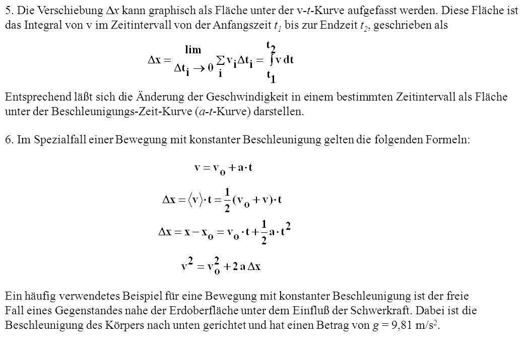 5. Die Verschiebung x kann graphisch als Fläche unter der v-t-Kurve aufgefasst werden. Diese Fläche ist das Integral von v im Zeitintervall von der Anfangszeit t1 bis zur Endzeit t2, geschrieben als