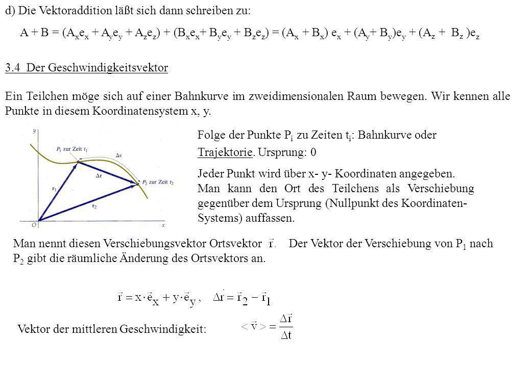 d) Die Vektoraddition läßt sich dann schreiben zu: