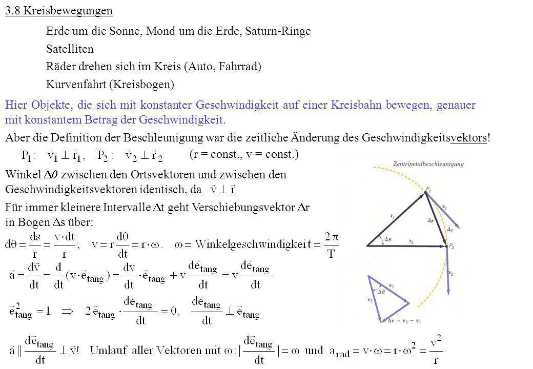 3.8 Kreisbewegungen Erde um die Sonne, Mond um die Erde, Saturn-Ringe. Satelliten. Räder drehen sich im Kreis (Auto, Fahrrad)