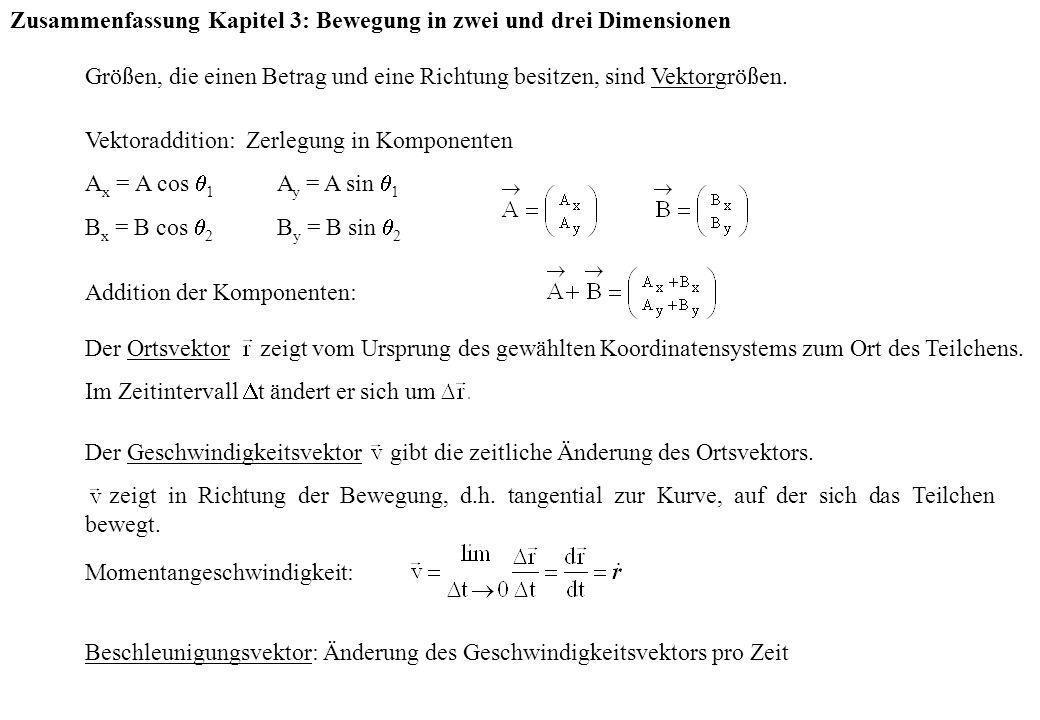 Zusammenfassung Kapitel 3: Bewegung in zwei und drei Dimensionen