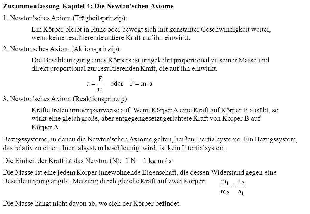 Zusammenfassung Kapitel 4: Die Newton schen Axiome